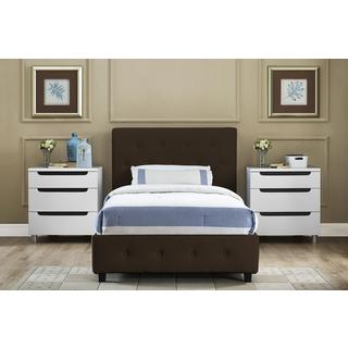 DHP Dakota Brown Faux Leather Upholstered Twin Bed