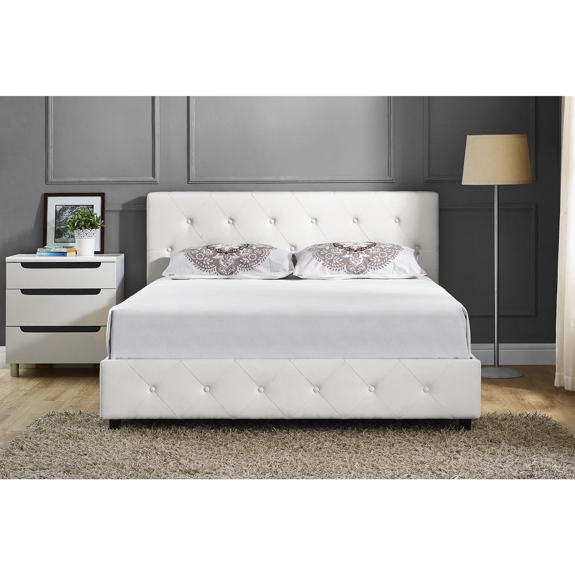 Oliver James Elsie White Faux Leather Full Size Bed