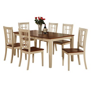 NICO7-WHI Cherry-finish Rubberwood 7-piece Dining Room Set Including Kitchen Table with Leaf and 6 Dining Chairs