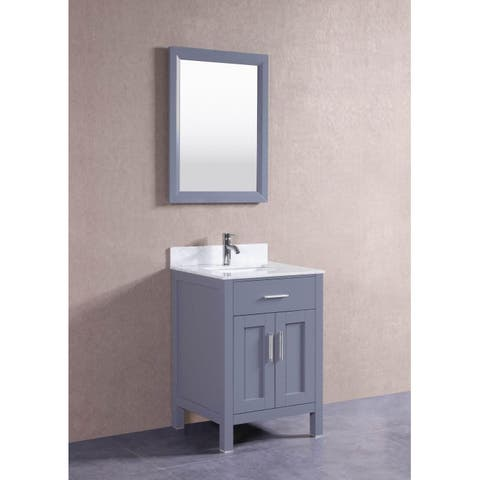 Belvedere Oak 24-inch Bathroom Vanity Set with Marble Top