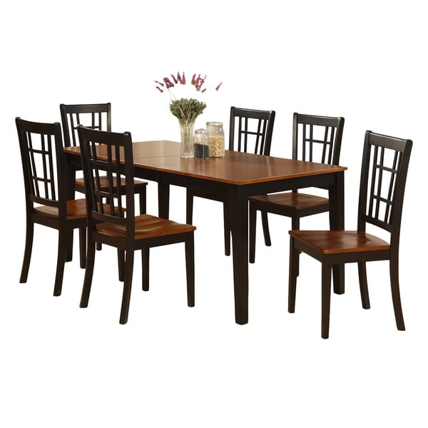 nico7 blk cherry black finish wood dining table and 6