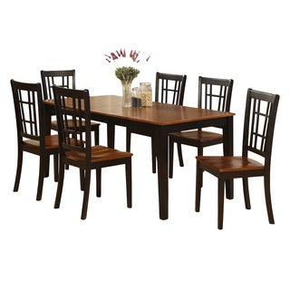 NICO7-BLK Cherry/Black Finish Wood Dining Table and 6 Chairs