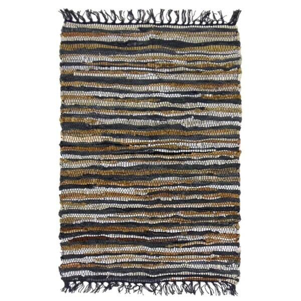 Celebration Chindi Grey/Multicolor Leather Area Rug (2' x 3')