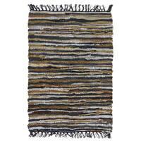 Celebration Chindi Grey/Multicolor Leather Area Rug - 2' x 3'