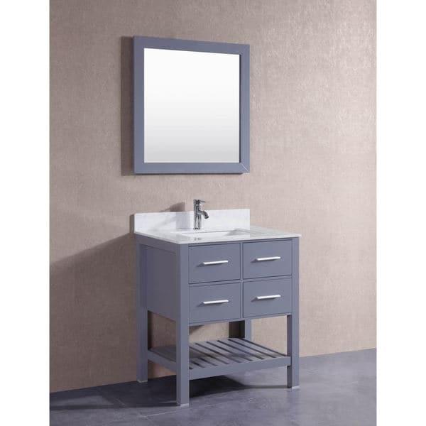 belvedere grey 30inch bathroom vanity with marble top