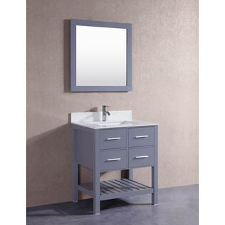 Belvedere Grey 30-inch Bathroom Vanity with Marble Top