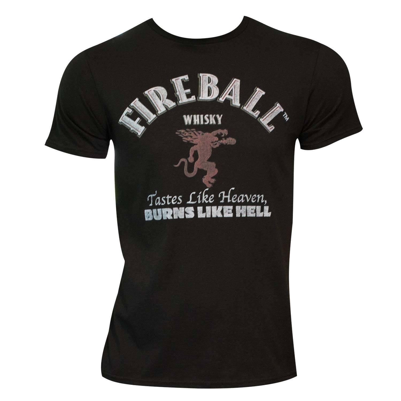Men's Black Fireball Label T-shirt (L) (polyester, graphic)