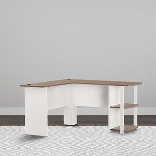 Avenue Greene Abbott White and Oak Wood L-shaped Desk with Bookshelves