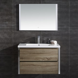 "Theo 32"" Wall Hung Double Drawer LED Vanity with LED Mirror"