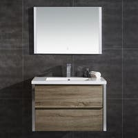 """Theo 32"""" Wall Hung Double Drawer LED Vanity with LED Mirror"""