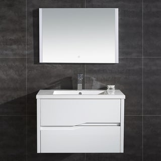 "Vela 32"" Wall Hung Double Drawer LED Vanity with LED Mirror"