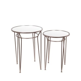 Privilege Contemporary Gold Accent Tables (Set of 2)
