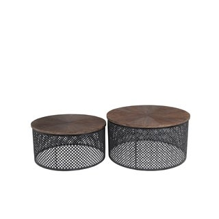 Privilege Black Iron/Wood Contemporary Coffee Tables (Set of 2)