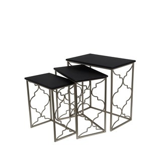 Privilege Contemporary Black Iron Nesting Tables (Set of 3)