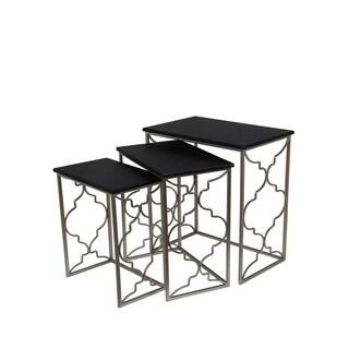 Privilege Contemporary Black Iron Nesting Tables (Set of 3)
