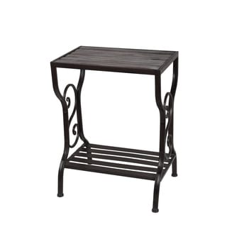 Privilege Black Iron, Wood Table Stand with Shelf