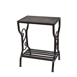 Marvelous Privilege Black Iron, Wood Table Stand With Shelf
