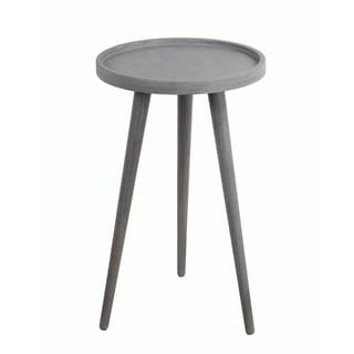Privilege Retro Washed Grey Wood Accent Table with Round Tray Top