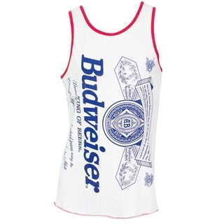 Budweiser Label Men's White Cotton-blend Tank Top