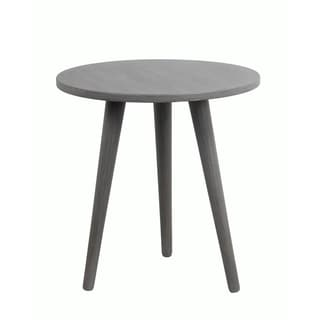 Privilege Retro Washed Grey Wood Round Accent Table