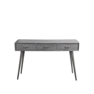 Privilege Retro Washed Grey Mid-century 3-drawer Console Table