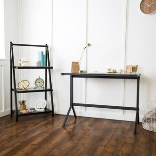 48-inch Smoke/ Black Glass Desk and Shelf Combo