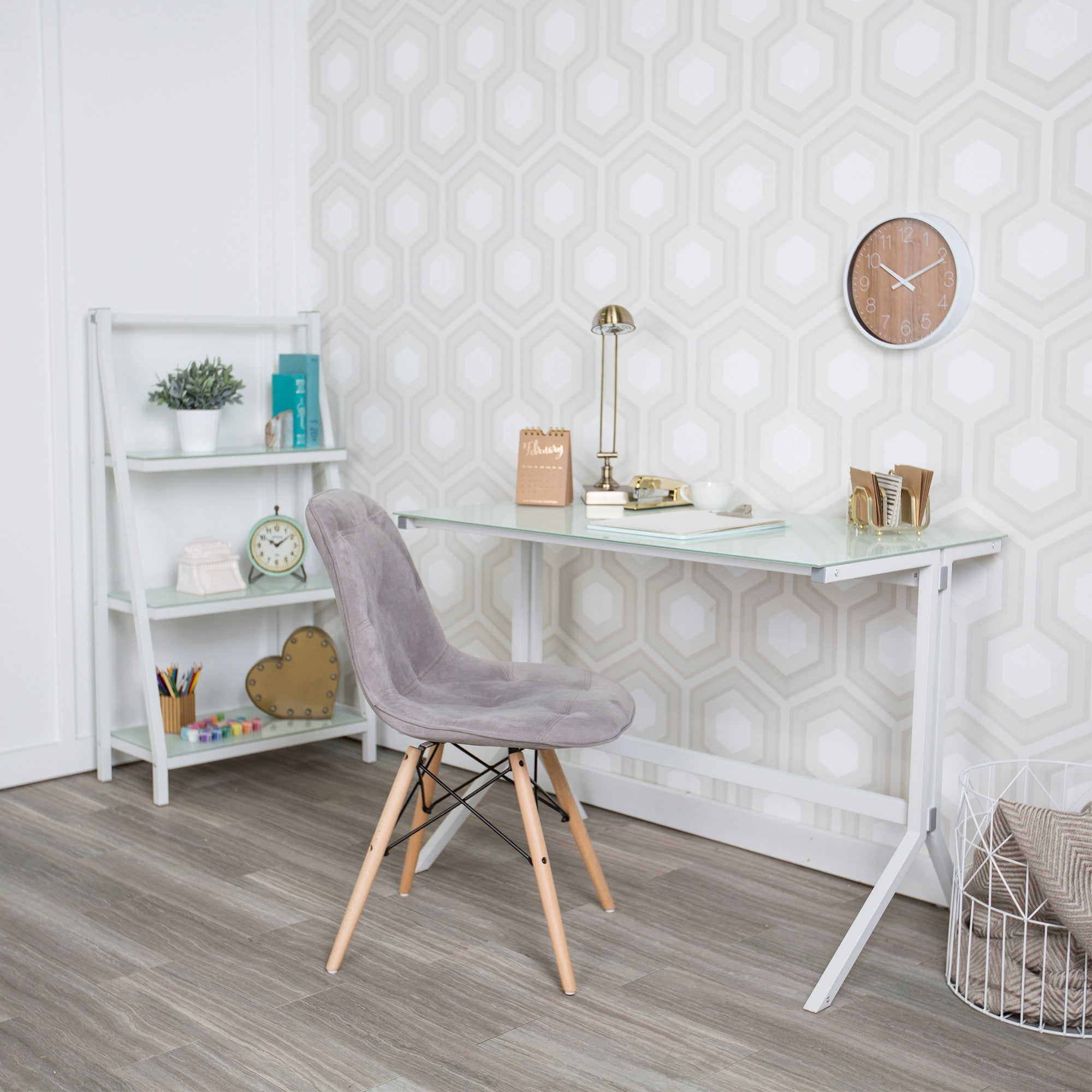 "White Glass Desk and Shelf Combo (48"" Glass Desk and Shel..."