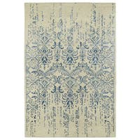 Hand-Tufted Wool & Viscose Anastasia Vanishing Blue Rug (9'6 x 13')