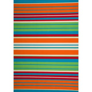 Christopher Knight Home Roxanne Lex Indoor/Outdoor Orange Multi Stripe Rug (7' x 10')