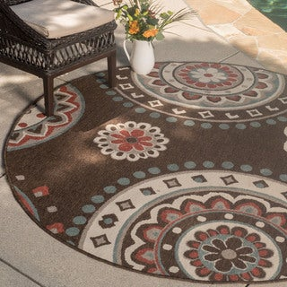 Christopher Knight Home Roxanne Lee Indoor/Outdoor Brown Rug (7' Round)