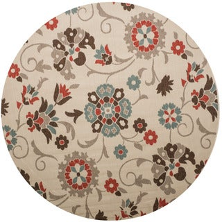 Christopher Knight Home Roxanne Telca Indoor/Outdoor Silver Floral Rug (7' Round)