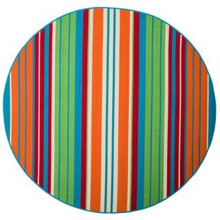 Christopher Knight Home Roxanne Lex Indoor/Outdoor Orange Multi Stripe Rug (7' Round)