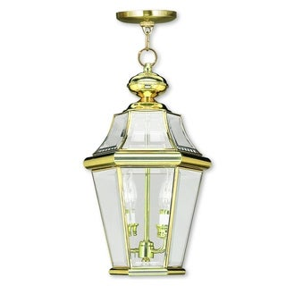 Livex Lighting Georgetown Polished Brass 2-light Outdoor Chain Lantern