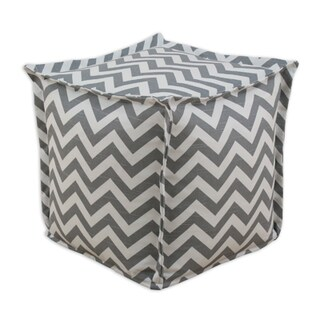 Zig Zag Ash 20-inch Wide x 20-inch Long x 17-inch High Corded Beads Hassock
