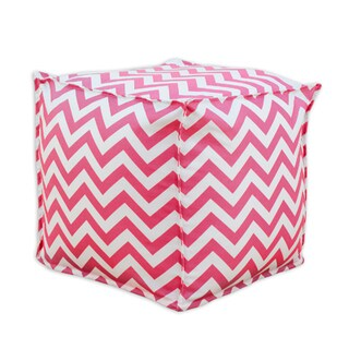 Zig Zag Pink and White Candy-striped Cotton 12.5-inch Square Seamed Footstool