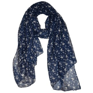 Navy Blue Polyester Sparrow-print Scarf