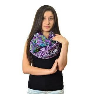 Women's Leopard and Floral Print Infinity Scarf
