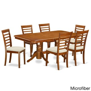 Brown Rubberwood 7-piece Formal Dining Room Set with Leaf (2 options available)