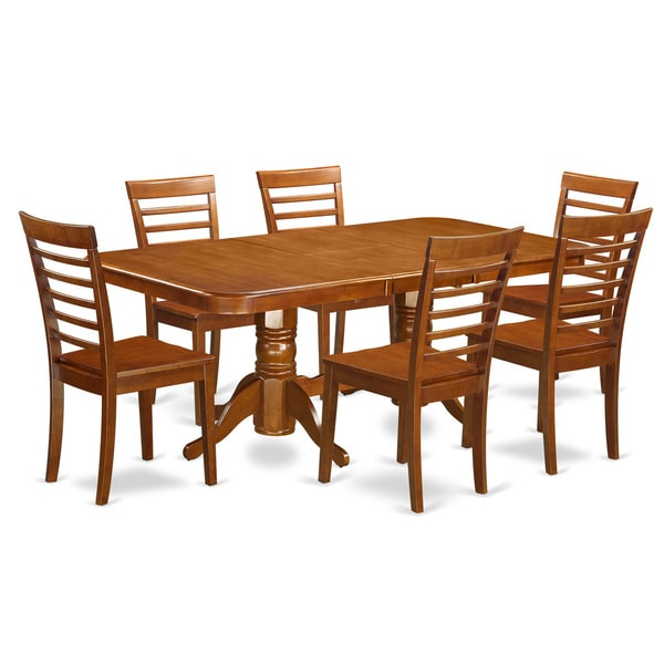 Brown rubberwood 7 piece formal dining room set with leaf for Dining room sets with leaf
