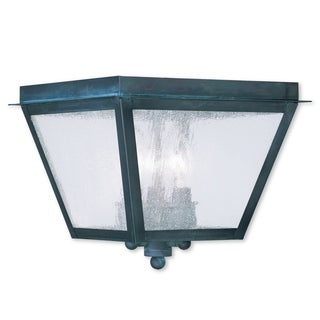 Livex Lighting Amwell Black or Grey Solid Brass Three-Light Outdoor Ceiling Mount Lantern