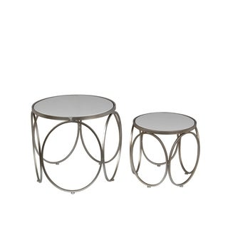 Privilege Silvertone Metal Set of 2 Accent Tables