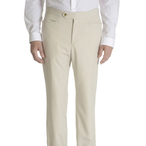 Sansabelt Men's Axle Solid Poplin Top-pocket Slim-cut Dress Pants