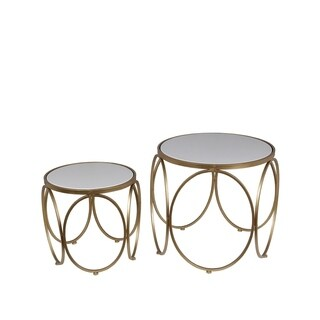 Privilege Gold/White Metal/Stone 2 Piece Accent Table Set