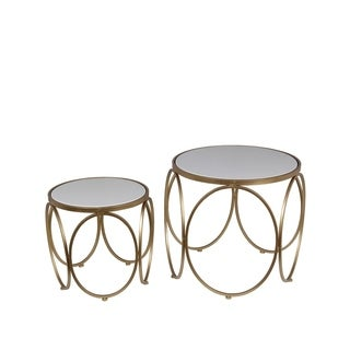 Privilege Gold/White Metal/Stone 2-piece Accent Table Set