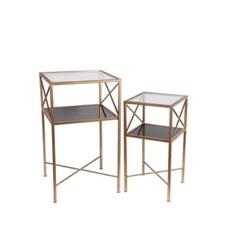 Privilege Goldtone Metal/Glass Tables (Set of 2)
