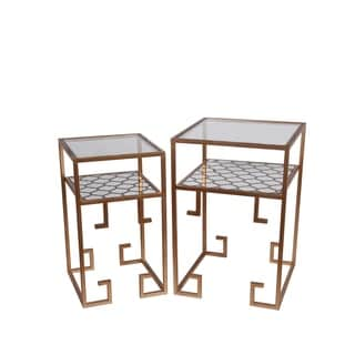 Privilege Goldtone Metal, Glass Accent Tables (Set Of 2)