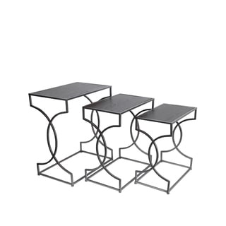 Privilege Silver, Black Iron Nesting Tables (Set of 3)