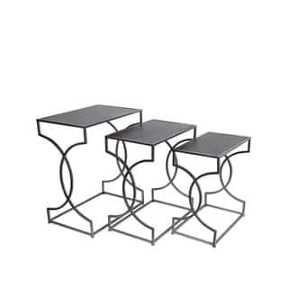 Privilege Silver, Black Iron Nesting Tables (Set of 3)|https://ak1.ostkcdn.com/images/products/11996630/P18875831.jpg?impolicy=medium