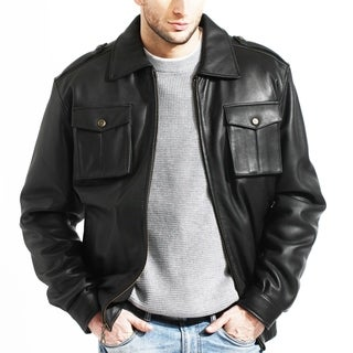 Men's Black Leather Bomber Jacket With Front Pockets