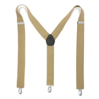 Ferrecci Premium Unisex Spandex/Faux Leather Mod Vintage-style Clip-on Suspenders (Option: Khaki)